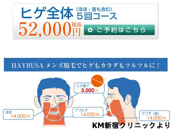 KM新宿・銀座クリニックの髭脱毛料金