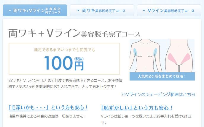 ミュゼの脇+Vライン脱毛100円
